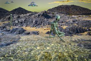 Бесплатные фото пляж,нло,иностранец,гуманоид,фантастический,научная фантастика,камни
