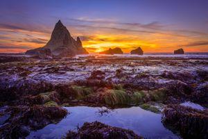 Бесплатные фото Мартин Бич,Закат солнца,Калифорния,море,скалы,берег,пляж