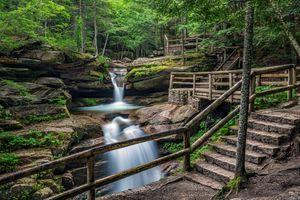 Фото бесплатно Нью-Гемпшир, лес, водопад