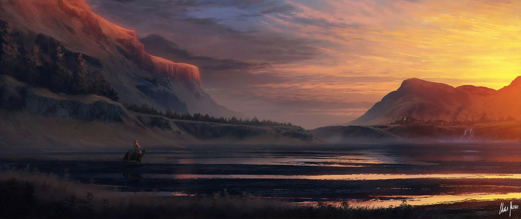 Нарисованный мужчина на коне у озера в горах · бесплатное фото