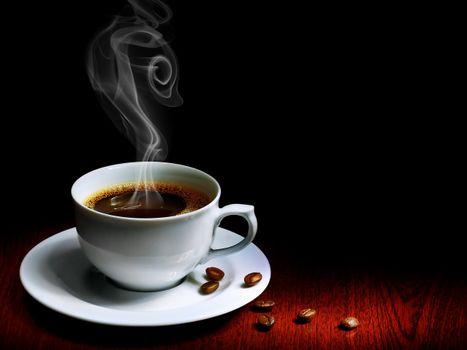 Photo free coffee, steam, saucer