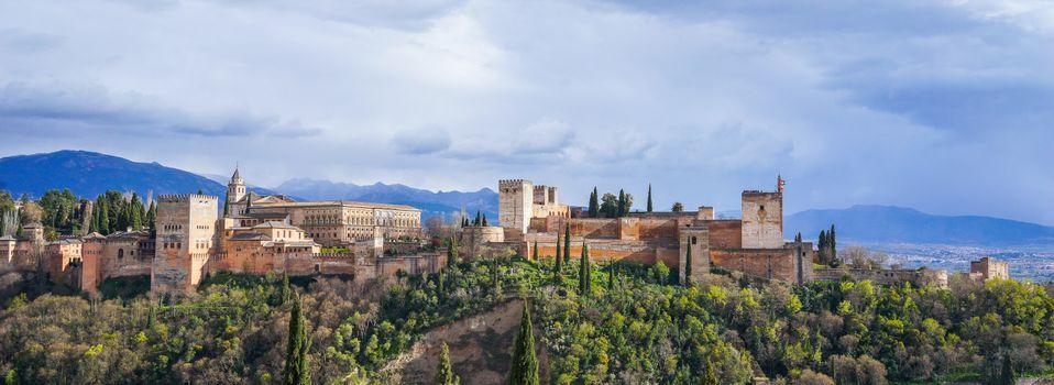 Бесплатные фото Гранада,Alhambra,Испания,панорама