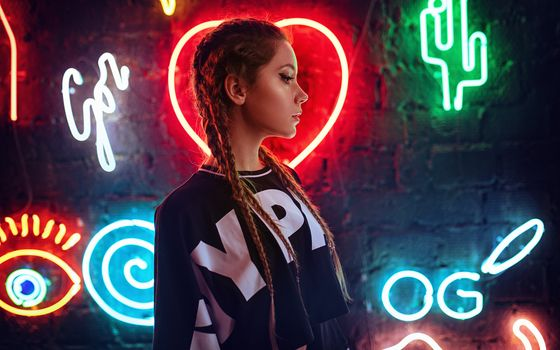 Photo free Girl, Neon, Heart