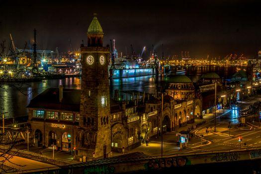 Фото бесплатно пристань Св Павла в Гамбурге, Гамбург, ночь