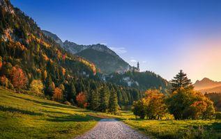 Бесплатные фото Сказочный замок Нойшванштайн,Хоэншвангау,город Швангау,Neuschwanstein Castle,Germany,Бавария,Альпы