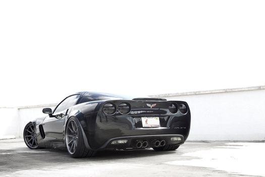 Фото бесплатно Corvette Z06, вид сзади, черный