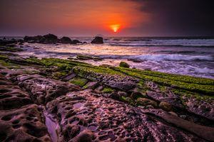 Бесплатные фото Тайбэй,Тайвань,побережье,море,закат,скалы,волны