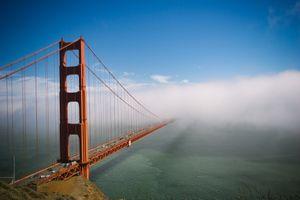 Фото бесплатно beach, blue, bridge, cars, city, clouds, county, dawn, dusk, evening, fog, foggy, gate, golden, landmark, landscape, light, marin, ocean, outdoors, red