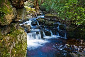 Фото бесплатно лес, скалы, камни, водопад, водоём, деревья, природа