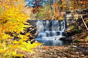 Фото бесплатно водопад, цвета осени, деревья