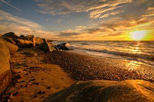 Заставки закат, природа, волны