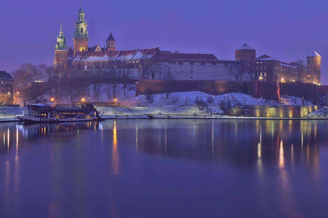 Фото бесплатно замок Вавель, Краков, Польша, ночь, иллюминация, город - на рабочий стол