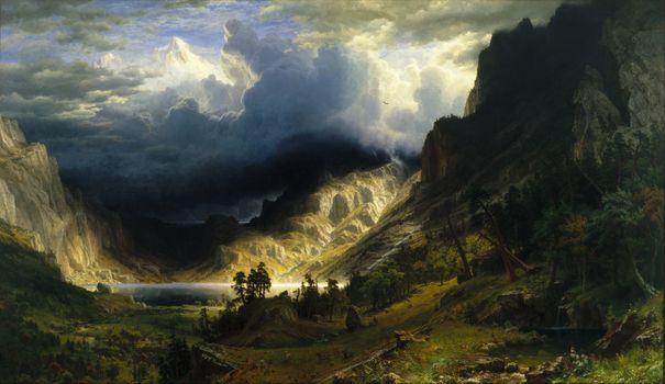 Фото бесплатно облака, долина, озеро, деревья, лес, тучи, лучи солнца, горы