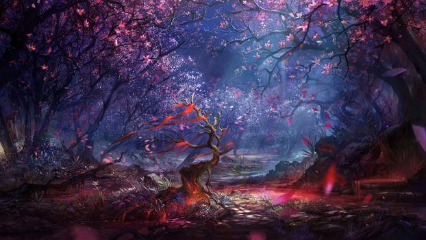 Заставки лес, рисунок, арт