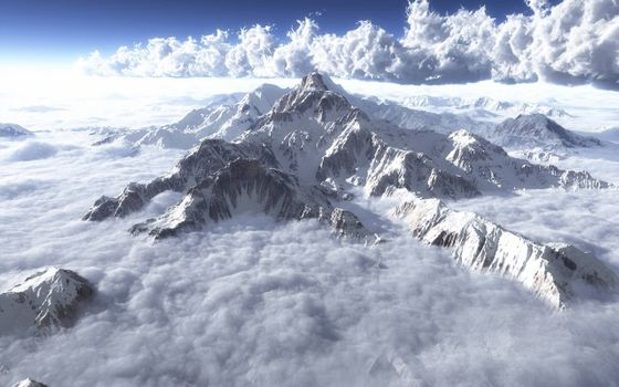 Photo free the scenic view from the air, the clouds, mountain