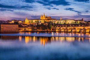 Заставки Река Влтава, ночной город, Прага