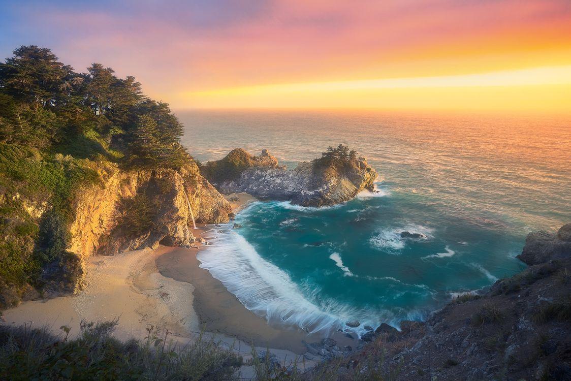 Обои закат, скалы, Big Sur картинки на телефон
