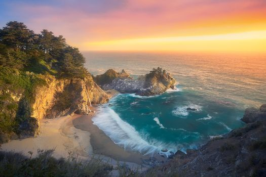 Photo free sunset, rocks, Big Sur