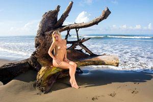Бесплатные фото Невена Наоми,Наоми,Лили,бренди,блондинка,пляж,обнаженная