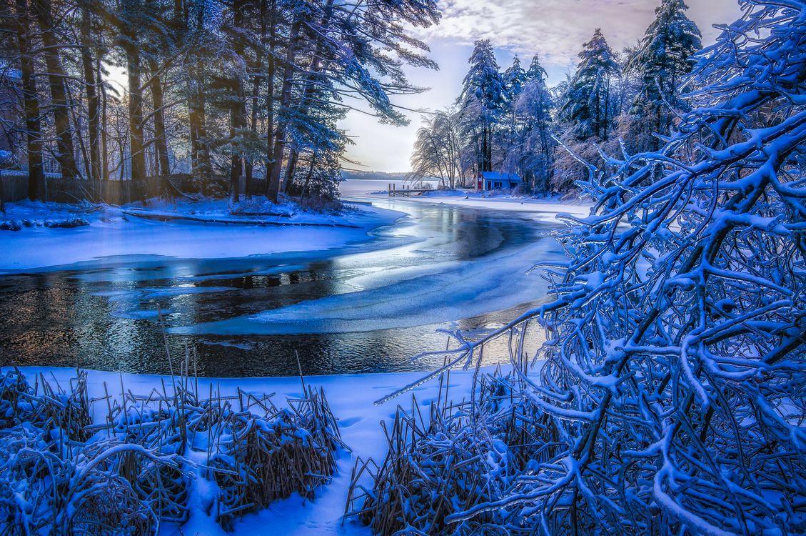 Фото бесплатно зима, река, лёд, ледяной, домик, деревья, снег, обледенелые ветки, вода, лес, камыш, природа, пейзаж, пейзажи