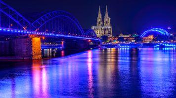 Кёльн - ночные города · бесплатное фото