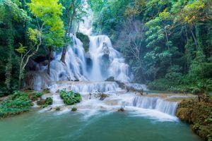 Фото бесплатно Tat Kuang Si Waterfalls in Luang Prabang, Laos, Тат Куанг Си