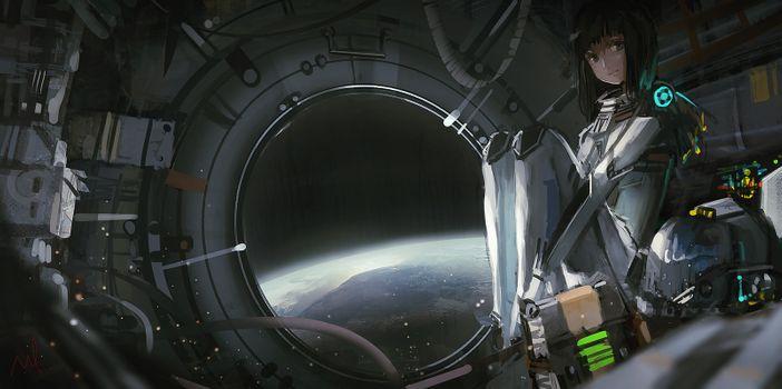 Фото бесплатно девушка, аниме, космос
