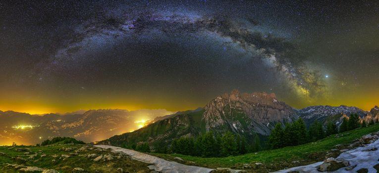 Фото бесплатно Гларус Альпы, Швейцария, Млечный Путь