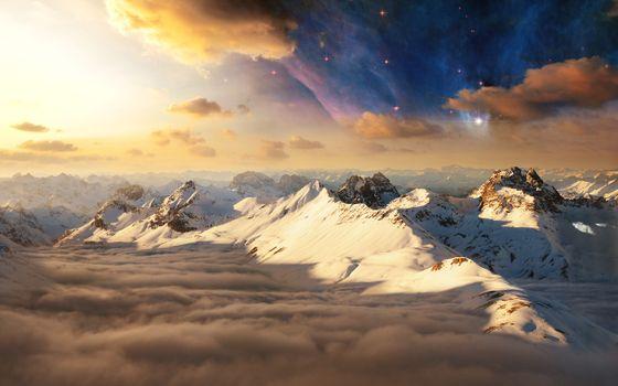 Заставки горы, туманность, облака