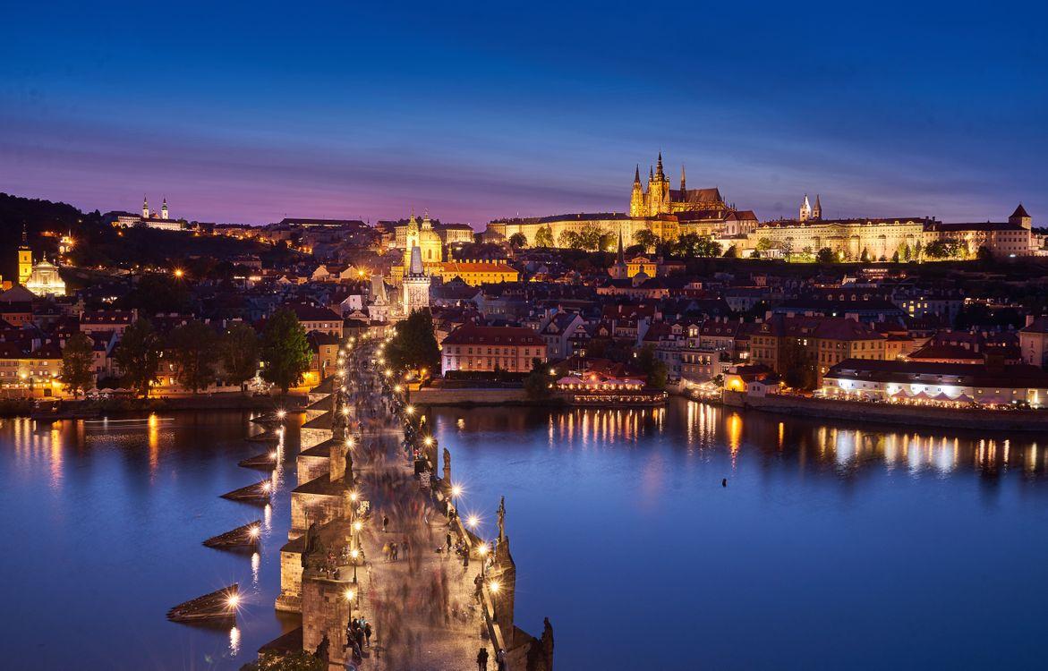 Обои Прага, Чехия, Prague, Czech Republic, Карлов мост, Река Влтава, город картинки на телефон