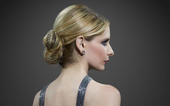 Фото бесплатно Сара Мишель, блондинка, вид профиля