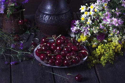 Фото бесплатно vishnya, yagody, цветы