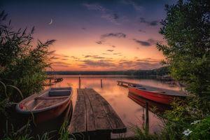 Бесплатные фото Йоркшир,Канада,закат,озеро,лодка,деревья,пристань