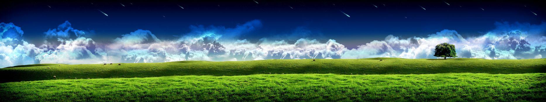 Фото бесплатно простор, поле, дерево, облака, туги, горизонт, монитор, экран, тройной, обои