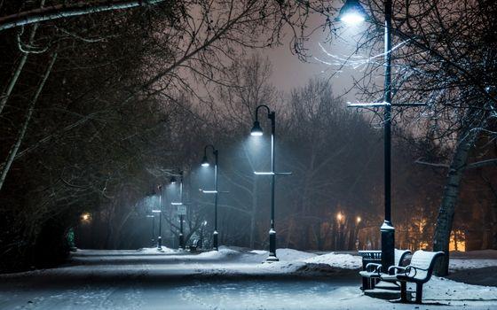 Фото бесплатно скамейка, лампа, огни
