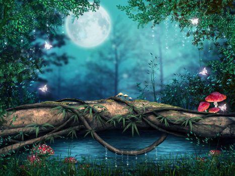 Бесплатные фото Дерево над заколдованным прудом,луна,ночь,грибы,бабочки,art
