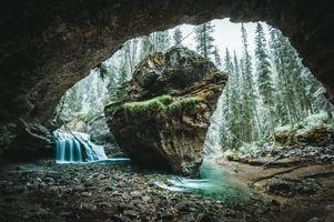 Фото бесплатно скалы, лес, альберта