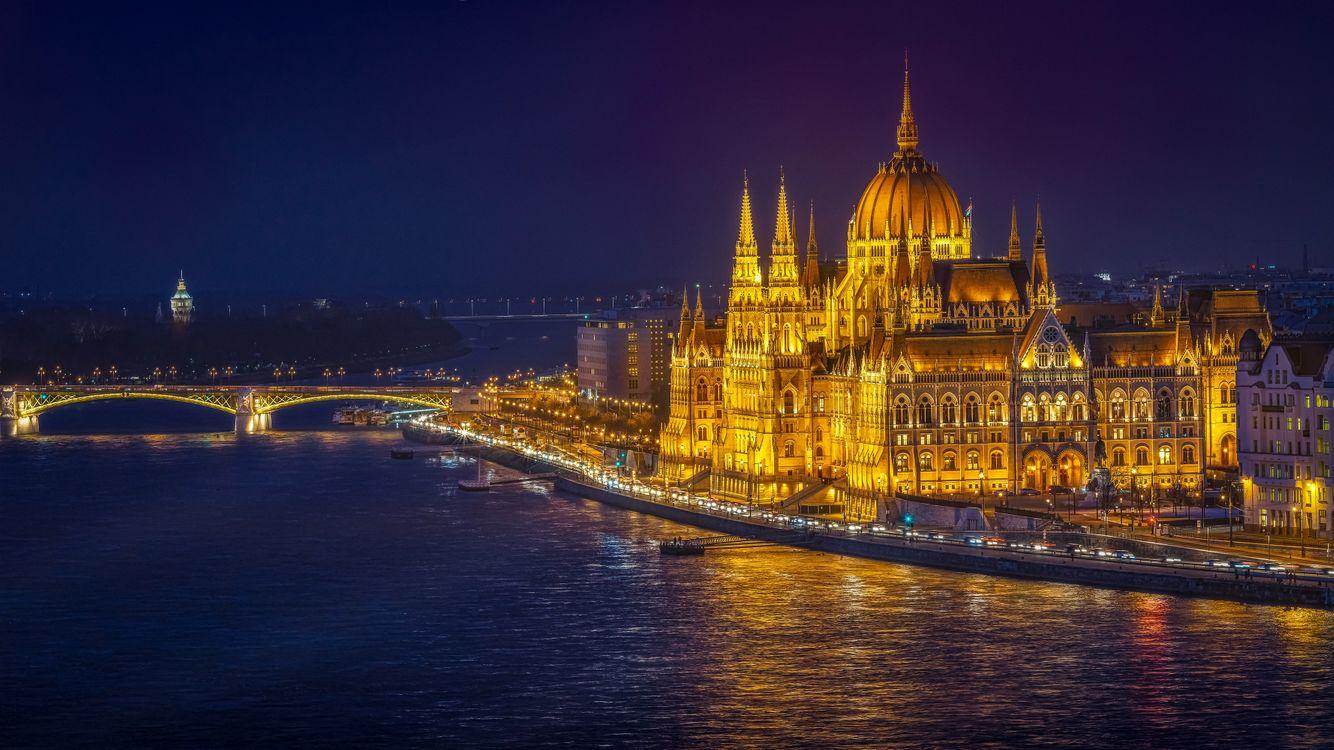 Фото бесплатно Венгерский парламент, великолепие и слава в Будапеште, Будапешт, цепной Мост, Parlament Margretbridge, Венгрия, Дунай, город, ночь, город