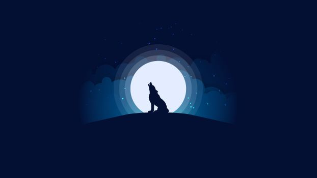 Фото бесплатно вой волка, Луна, волк