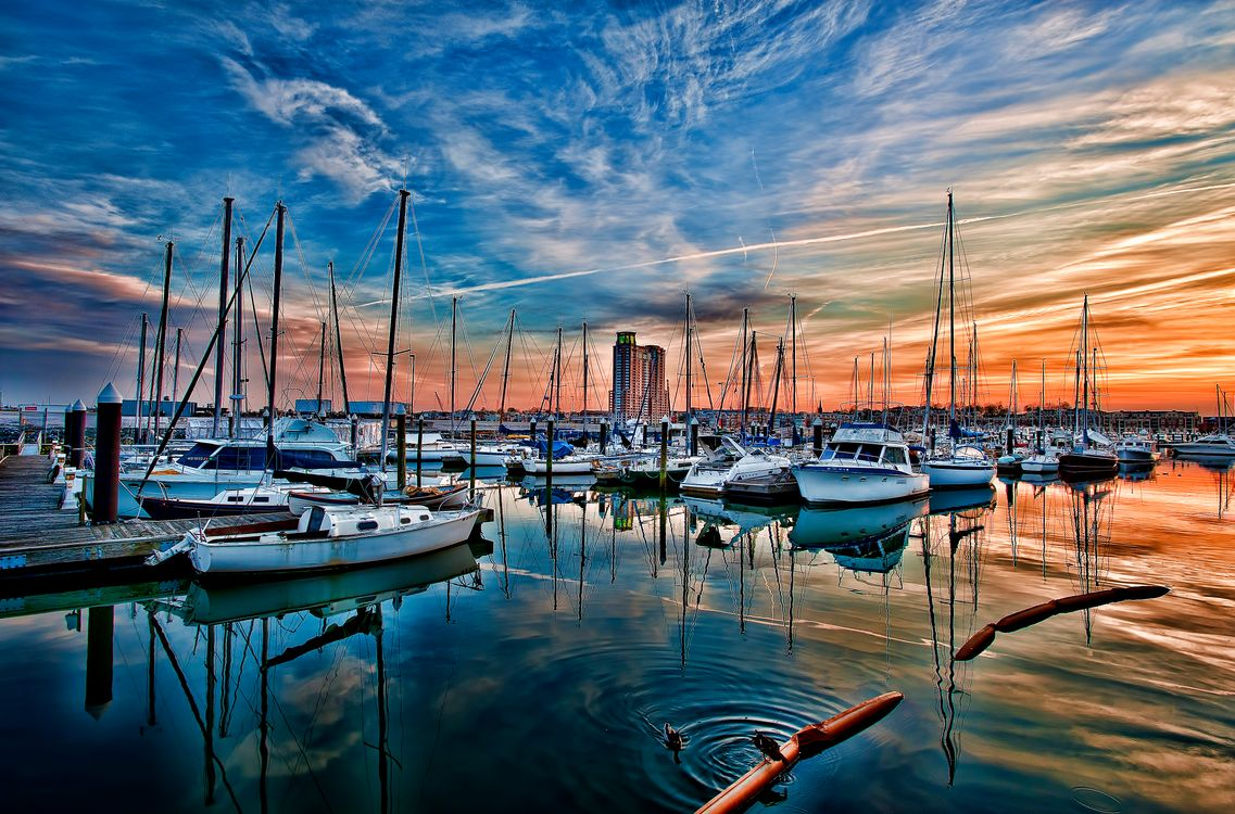 Обои Балтимор, Мэриленд, США, закат, порт, лодки, яхты, небо, пейзаж на телефон   картинки корабли - скачать