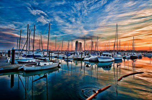 Фото бесплатно Балтимор, Мэриленд, США, закат, порт, лодки, яхты, небо, пейзаж