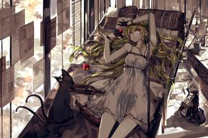 Photo free anime girl, blonde, red eyes