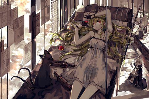 Фото бесплатно аниме девушка, блондинка, красные глаза