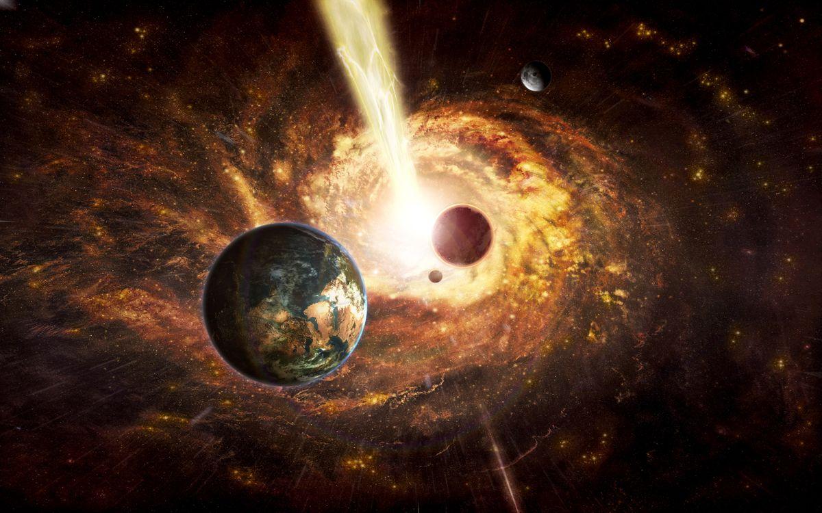 Обои черная дыра, вспышка, излучение картинки на телефон