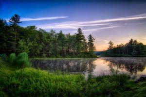 Бесплатные фото закат, озеро, лес, деревья, пейзаж
