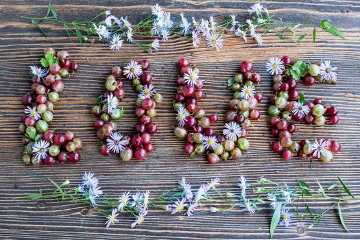 Photo free love berries, gooseberry, wood