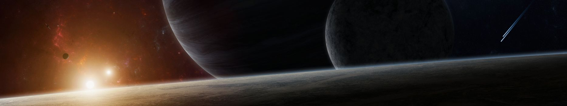 Фото бесплатно планеты, восход, звезды, даль, монитор, мульти, несколько, планете, экран, космос, тройные, обои