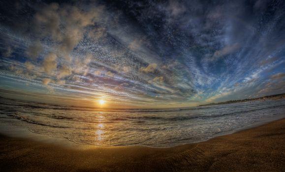 Фото бесплатно пляж, красивое небо, волны