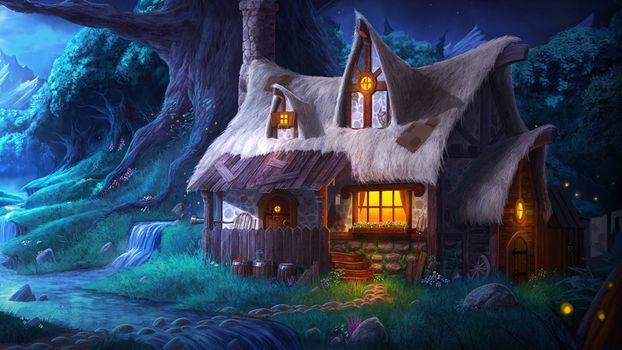 Бесплатные фото домик в горах,ночь,горы