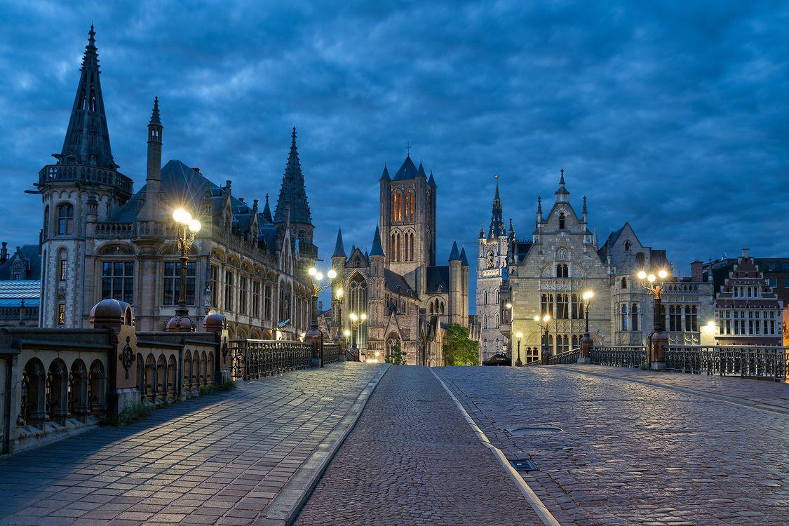 Фото бесплатно Бельгия, ночь, Гент - на рабочий стол